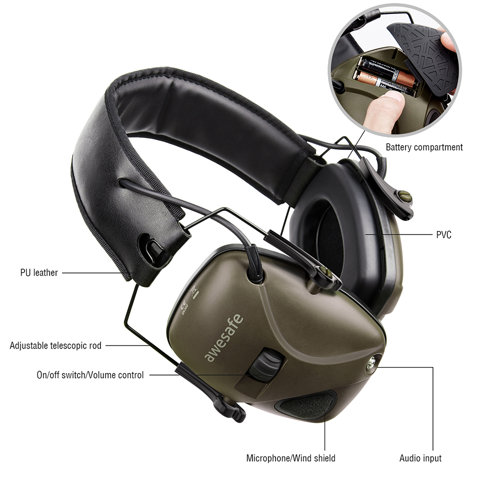 awesafe Electronic Shooting Earmuff Noise Reduction Sound Amplification Electronic Safety Ear Muffs and Storage Case Pink